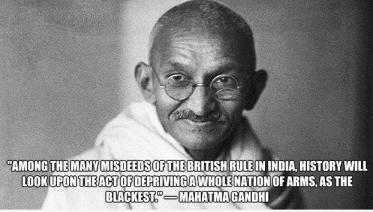 Gandhi was a supporter of the right to own guns. Click on his picture and learn how Facebook banned this quote.
