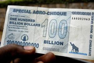 This $100 billion dollar note barely buys a loaf of bread.